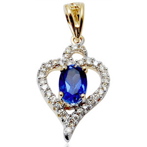 lab created sapphire pendant, diamond and synthetic stone gold pendant