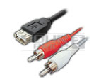 USB A Female to 2 RCA Male Cord - 1.5Meter
