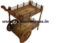 Wooden Carved Serving Trolley