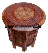 Sheesham Wood Hand Carved Brass Inlay Table