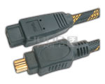 FIREWIRE IEEE 1394B 9 pin to 4 pin cord gold plated with nylon mesh - 5 Meter