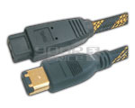 FIREWIRE IEEE 1394B 9 pin to 6 pin cord gold plated with nylon mesh - 10 Meter