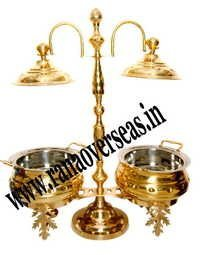 Double Pot Brass Metal Chafing Dish