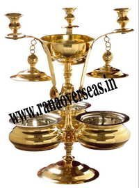 BRASS CHAFING DISH WITH THREE SERVING DISHES IN CANDLE HOLDER LOOK