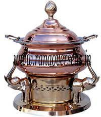 Copper Brass Combination Chafing Dish in elephant design