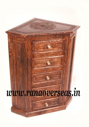 Wooden Hand Carved Drawer Chest.