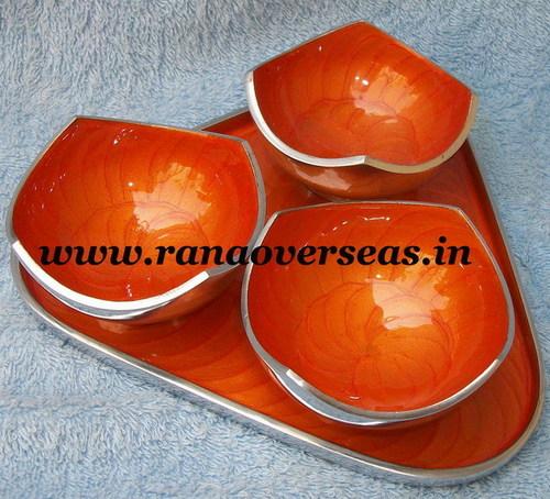 Aluminium Metal Dry Fruit Bowls with Tray