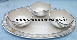 Aluminium Metal Dry Fruit Three Serving Bowls with Tray