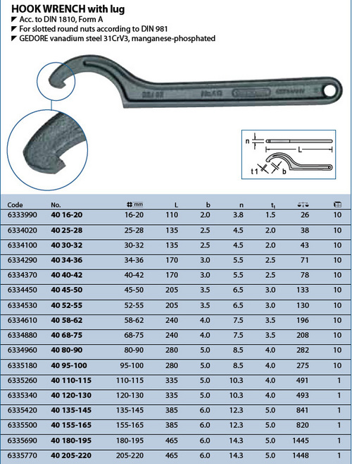 Gedore Hook Wrench  With  Lug