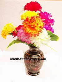 Brass Metal Flower Vase in Nakkashi Work