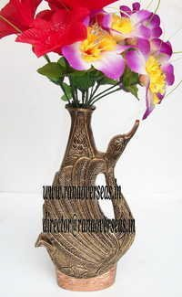 Peacock Design Metal Flower Vase in 12 inches