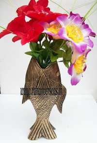Aluminium Metal Flower Vase in Fish Style in 11 inches