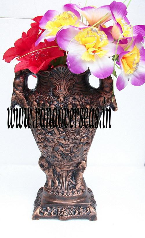 Engraved Aluminium Metal Flower Vase in 13 inches