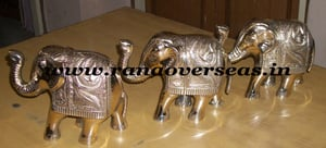 Brass Metal Crafted Elephant in 7x4x3 Inches