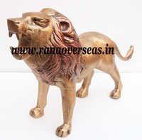 Antique Finish Aluminium Metal Lion for home Decoration in 12 x 21 Inches