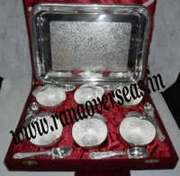 Silver Plated Six Serving Bowls With 6 Spoons and with Tray in Gift Box