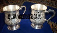 Engraved Silver Plated Bear Mug Set Of 2 Pcs