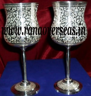 Silver Plated Brass Metal Goblet Set  in Gift Box.