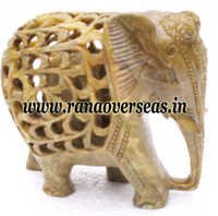 Stone Carved Elephant, Baby Inside Stomach of Elephant 4 inch