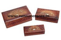 Wooden Carved Boxes in Brass Inlay