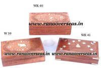 Sheesham Wood Hand Carved Brass Inlay Boxes