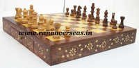 Wooden Squre Brass Inlay Chess Set