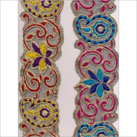 Multi Colored Embroidered Lace