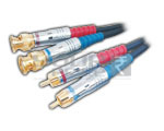 2 BNC Plug to 2 RCA Plug Cord Low Noise Digital Cable - 3 Meters