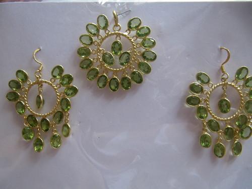 Silver stone Pendant Set