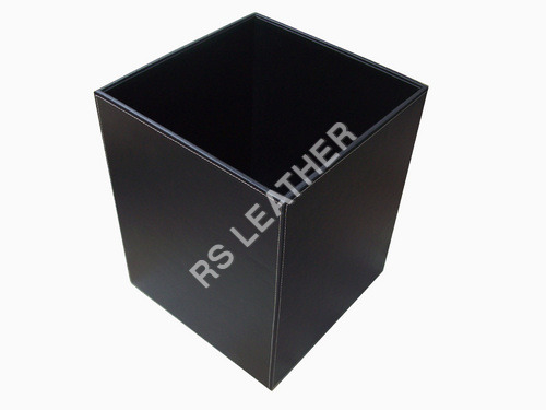 Black Leather Waste bin