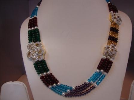 American Diamond Side Pendant Necklace