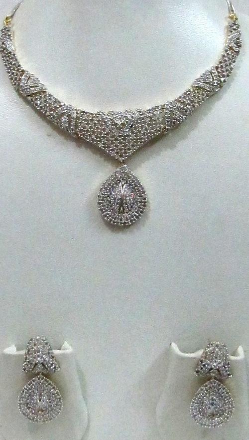 American Diamond Full Necklace Set