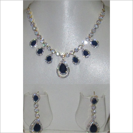 White American Diamond Sapphire Necklace Set