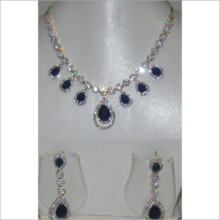 White American Diamond Sapphire Necklace Set