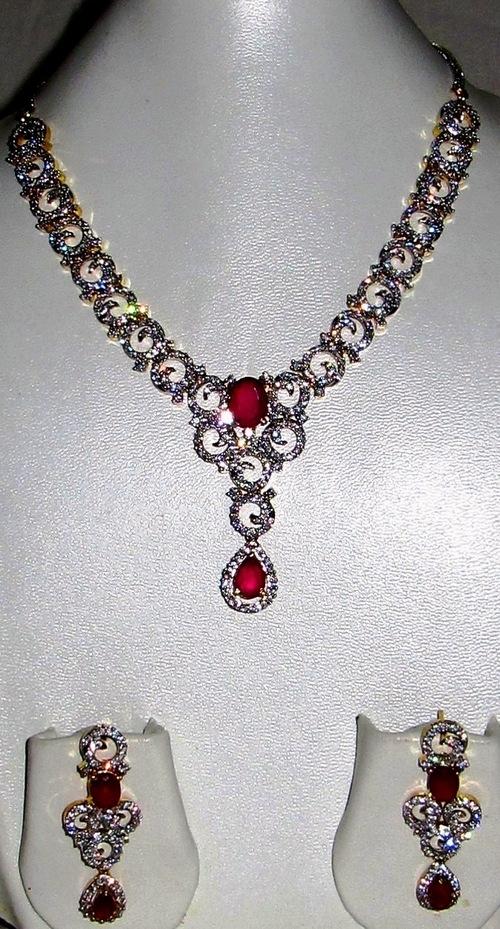 White American Diamond Studded Necklace