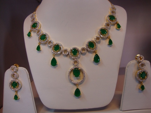 AD Semi Precious Stone Necklace Set