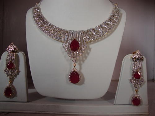 Red and White CZ Necklace Set