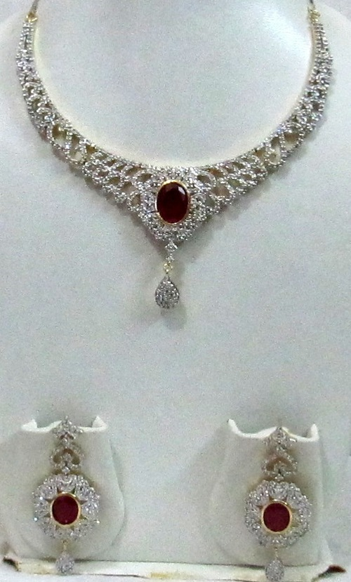 Garnet and White AD Necklace set