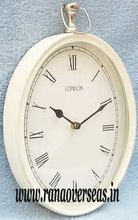 Antique White Finish Wall Hanging Clock in 10x 7.5 Inch