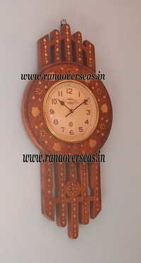 Wooden Brass Inlay Wall hanging Clock in Unique Design