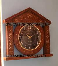 Sheesham Wood Brass Inlay Wall hanging Clock in Unique Design