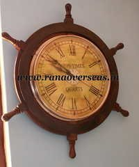 Wall Hanging Wooden Ship Wheel Clock.