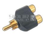 'T' Connector 2 RCA Socket to 1 RCA Plug