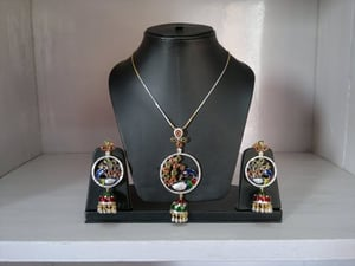 Ethnic Peacock Pendant Set - Meenakari Jewellery