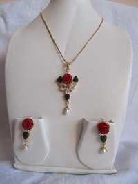 Coral Jade Flower Pendant