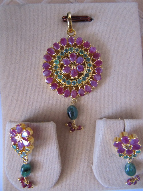 Real Ruby Emerald Pendant Set