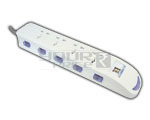 4 Outlet Power Strip 2 USB Female Charger With Individual Switch