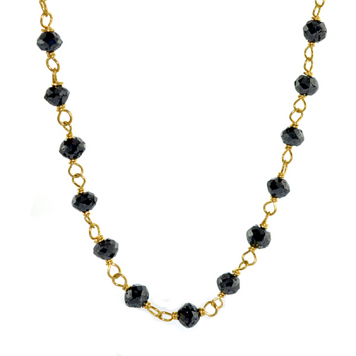 Black Diamond Beaded Gold Chain