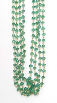 Emerald Rondell Faceted Beads Chain
