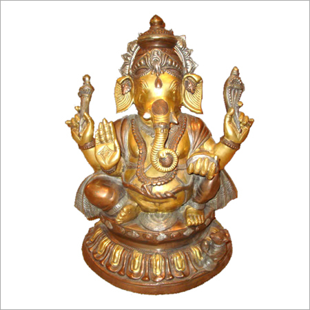 Ganesh Seated on Beautiful Carved Base